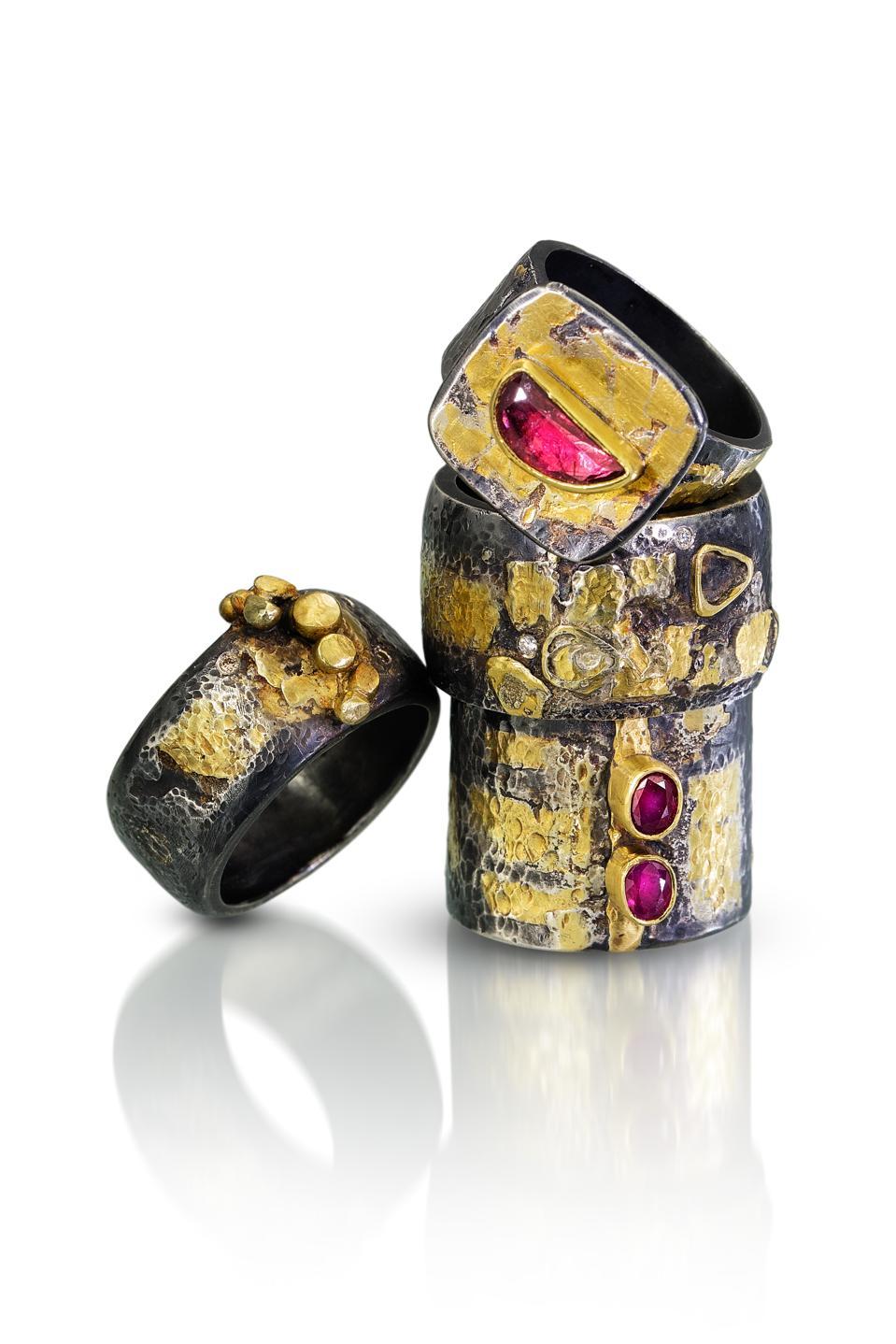 22-karat gold and tourmaline rings by Deborah Meyer  embody the essence of luxury jewelry