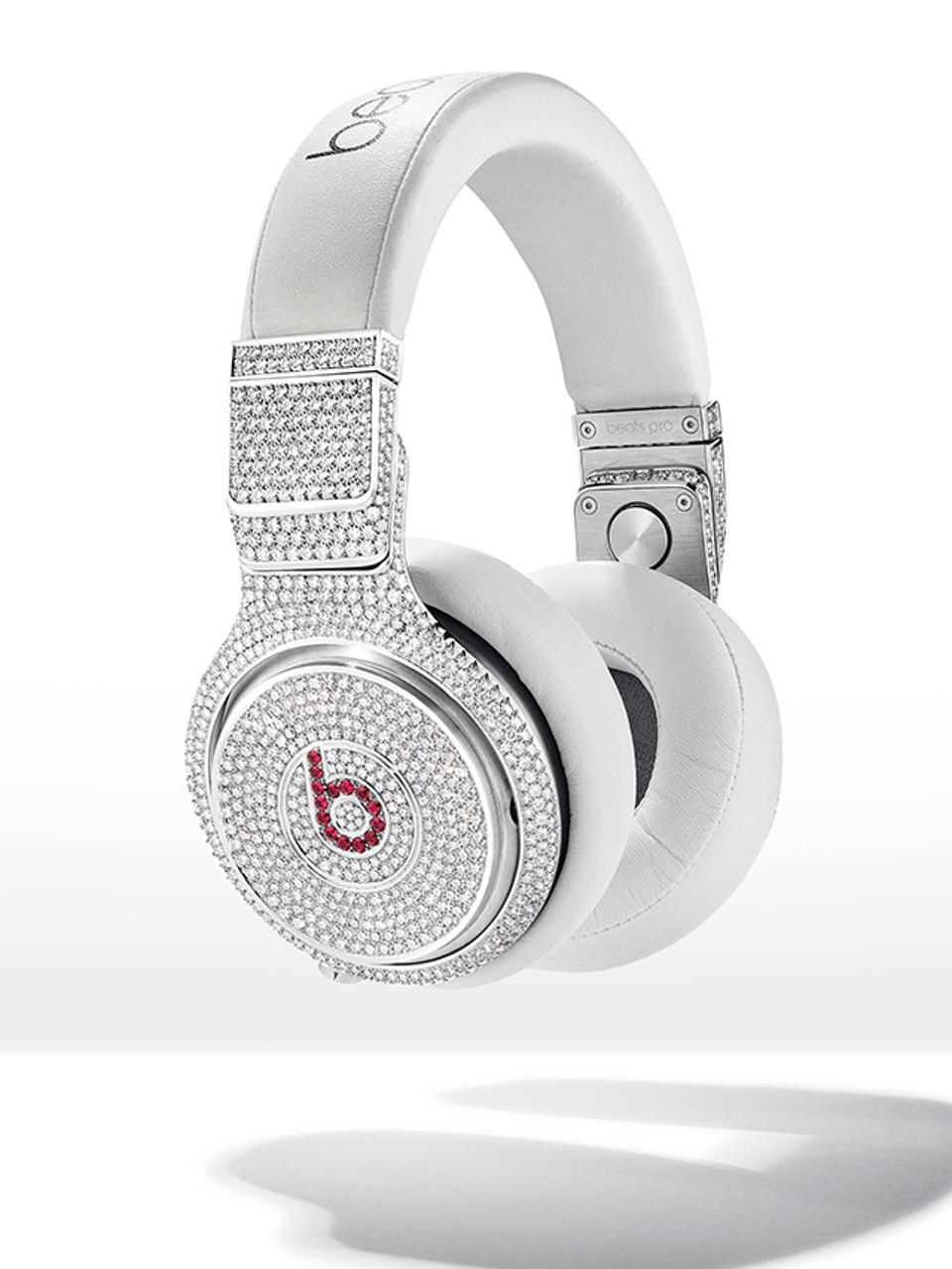 Diamond and ruby Beats Pro headphones made by Graff. To be auctioned at Christie's.