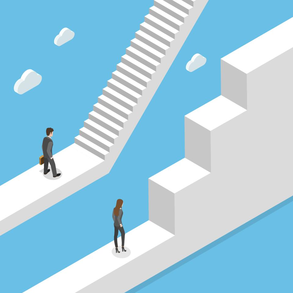 Woman and man climbing uneven steps