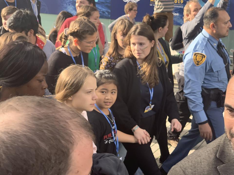 Greta Thunberg arrives at COP25 in Madrid.