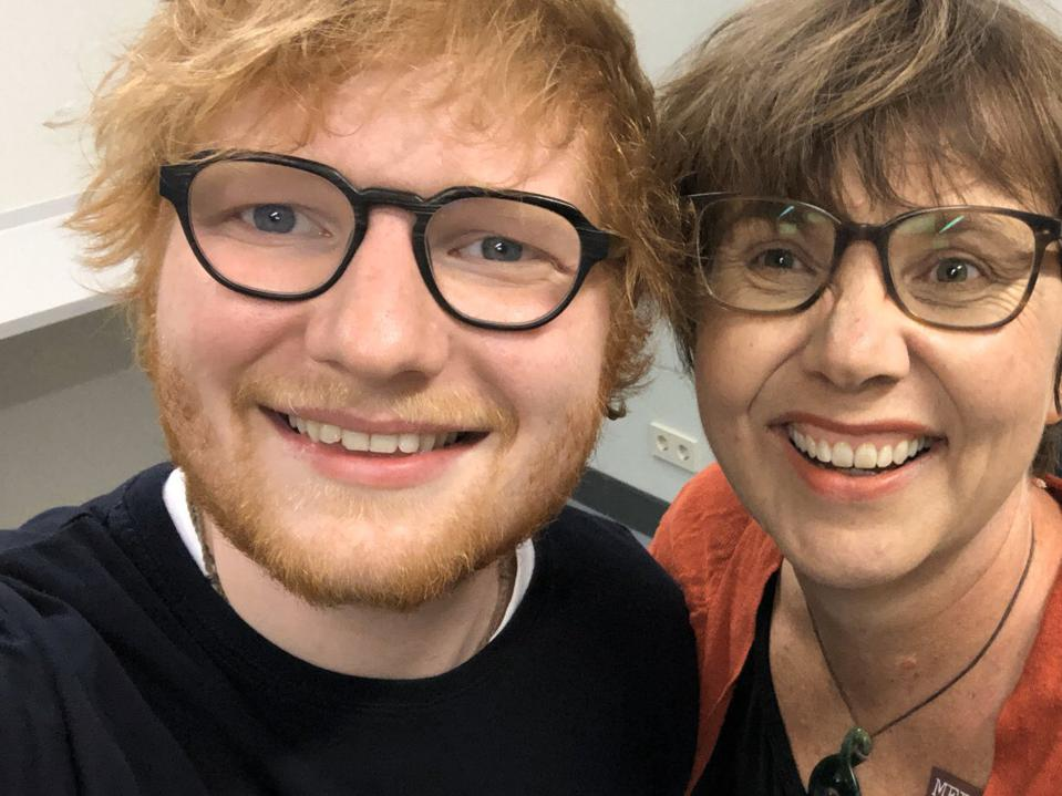 Claire Turnham and supporter Ed Sheeran