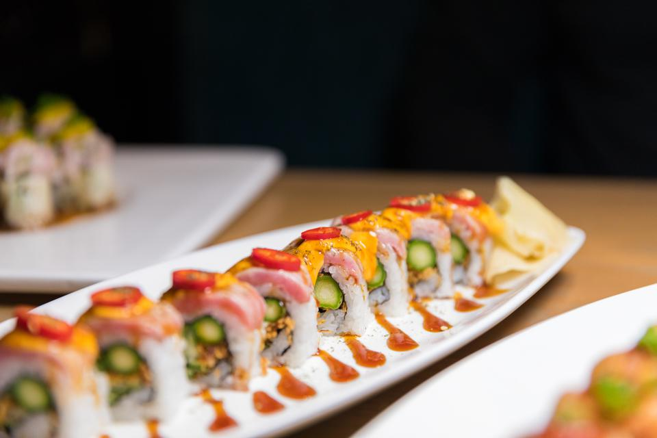 EVERETT, MA - A maki roll at Mystique in Boston.