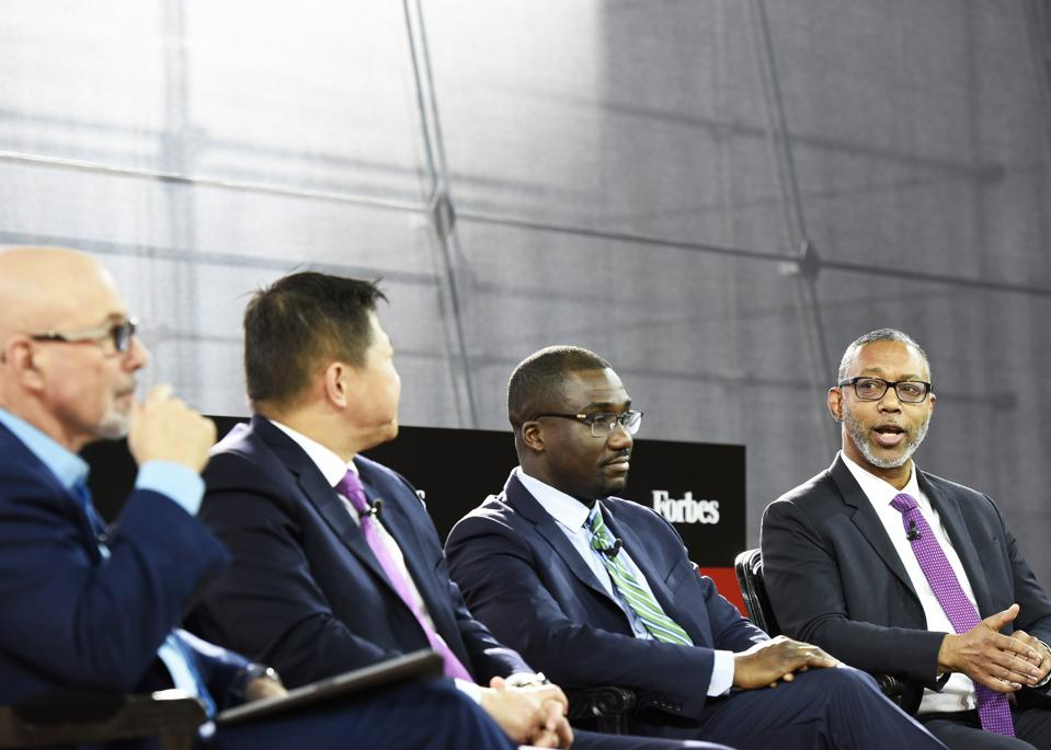 Left to right: Stephen K. Klasko, Jaewon Ryu, Jean C. Accius, and Kevin E. Lofton at the 2019 Forbes Healthcare Summit.
