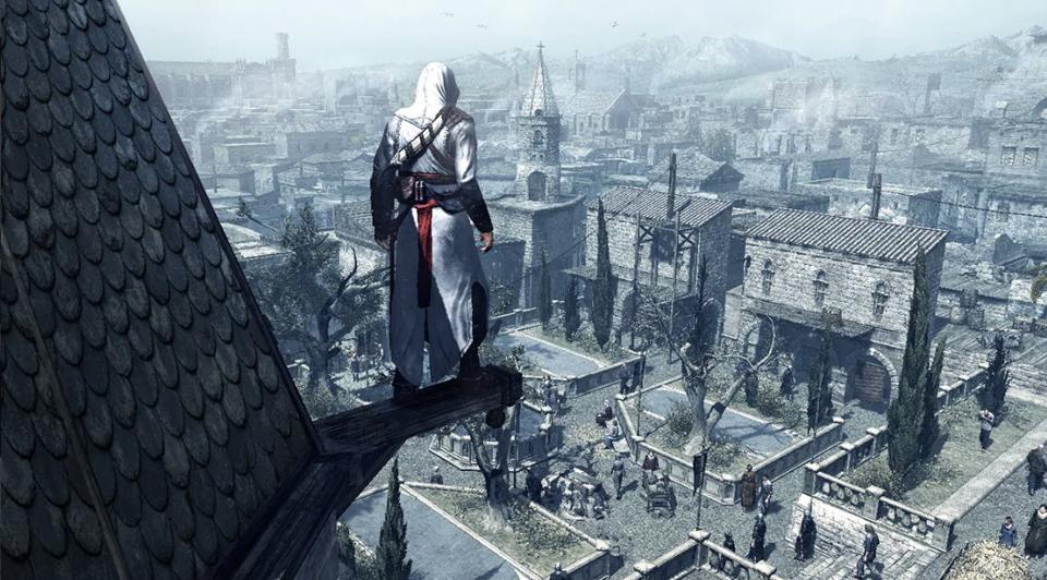 Video game character on roof overlooking a city square in the Hold Land in the 1100s.