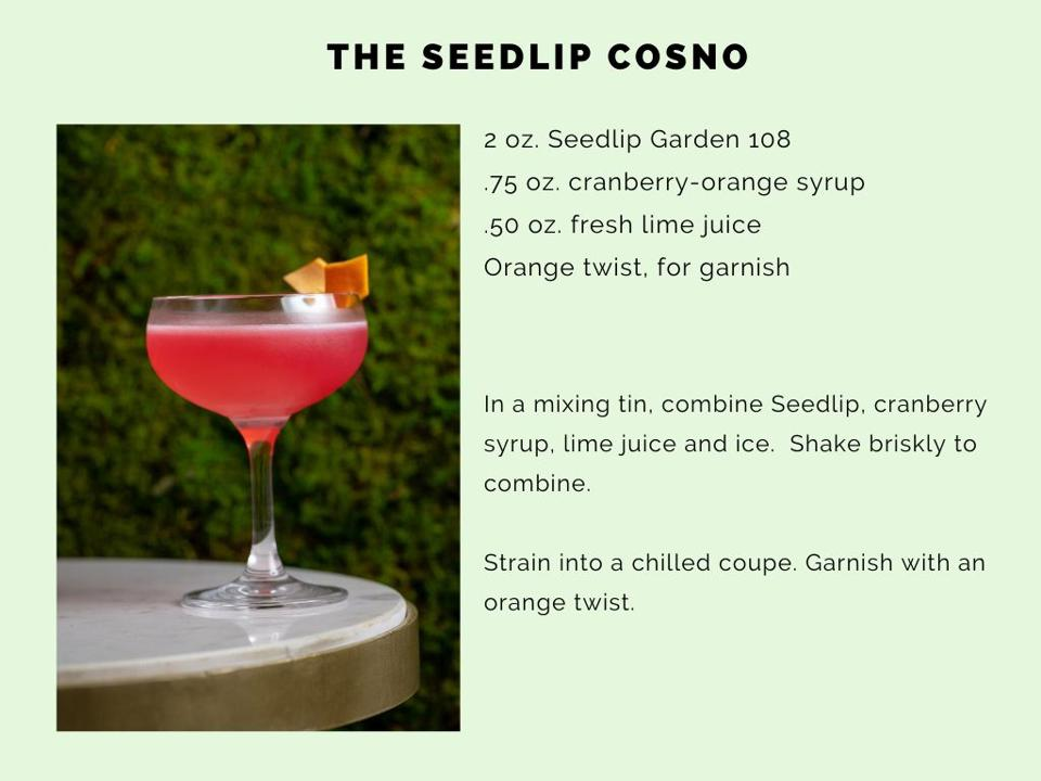 The Seedlip CosNo features a festive cranberry-orange syrup.