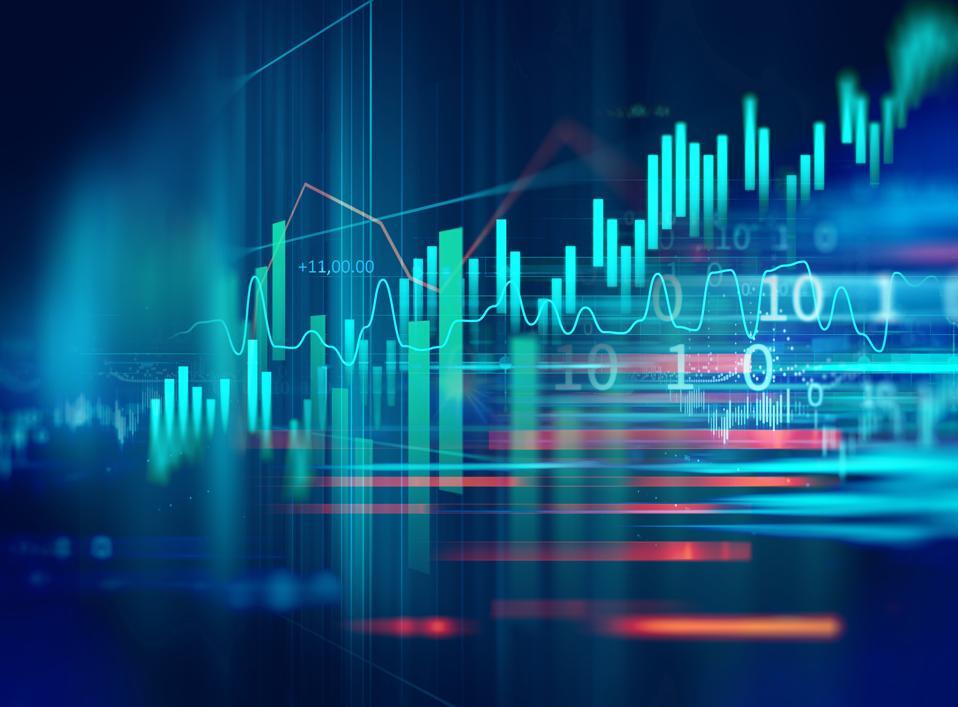 กราฟการลงทุนในตลาดหุ้นพร้อมตัวบ่งชี้และข้อมูลปริมาณ