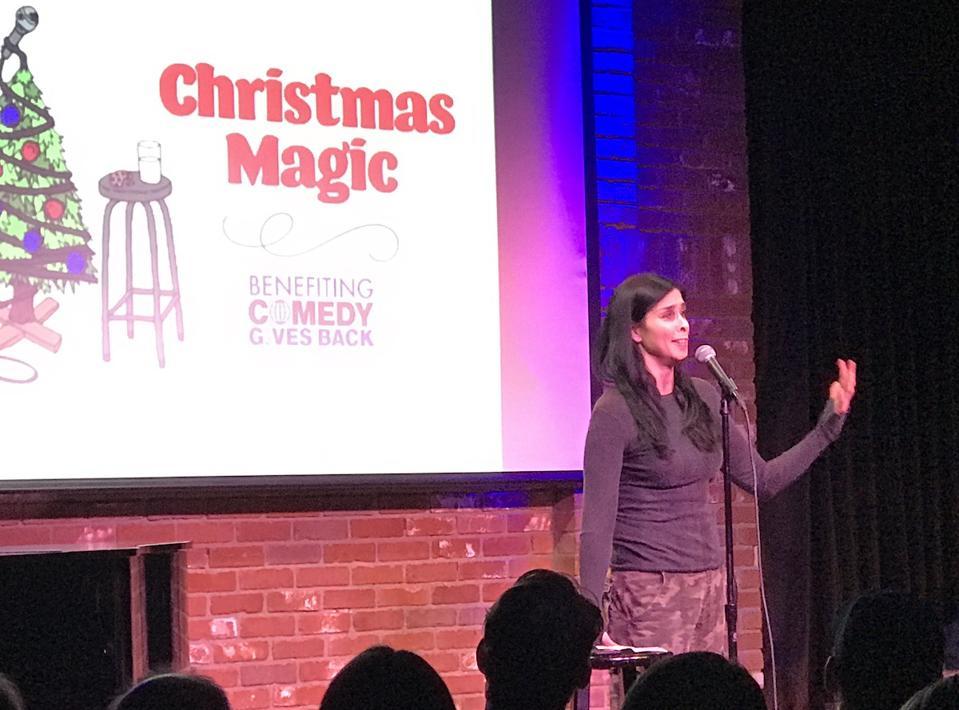 Sarah Silverman performing at Comedy Gives Back fundraiser