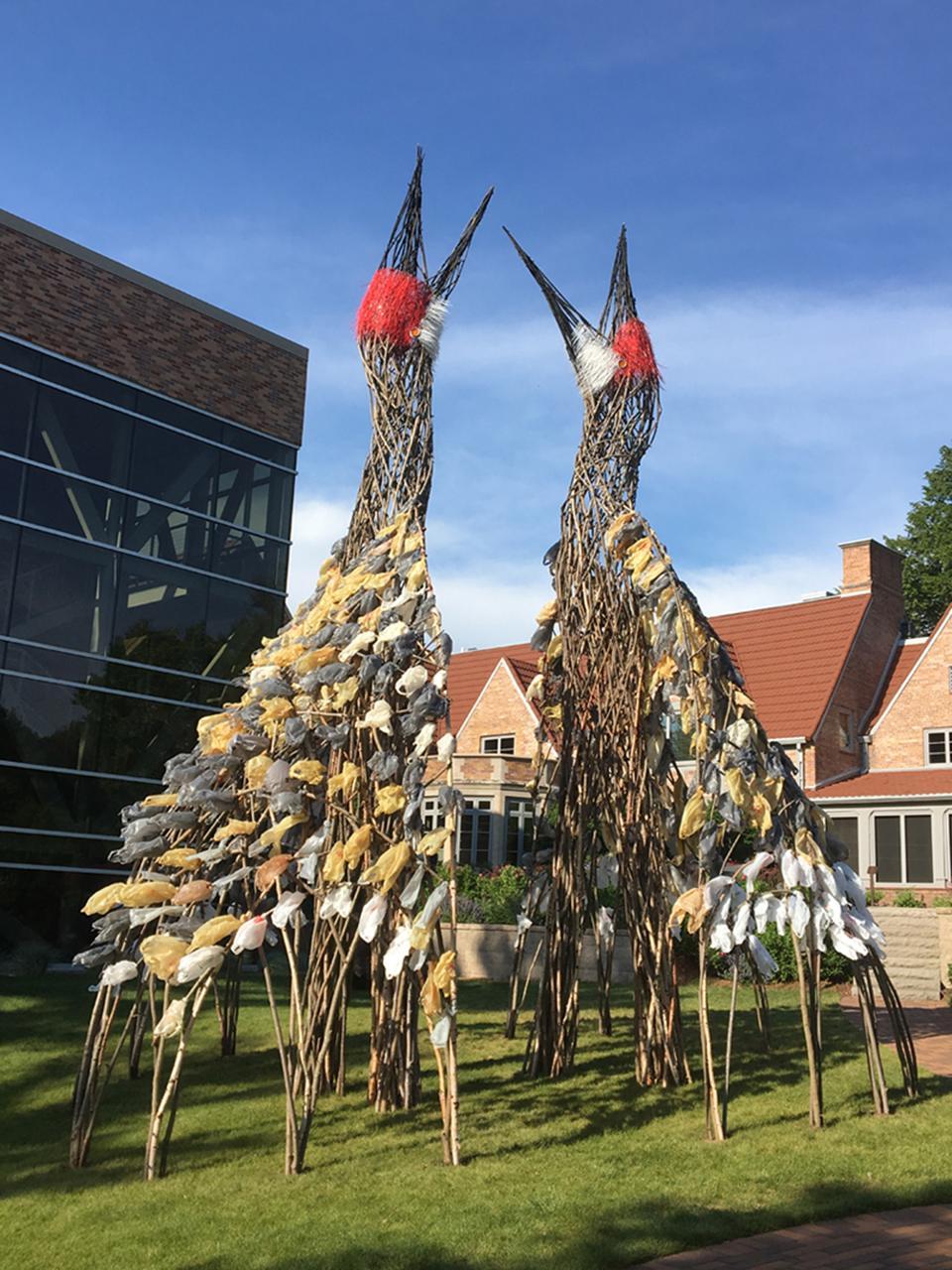 25 foot tall sapling and mixed media sculpture