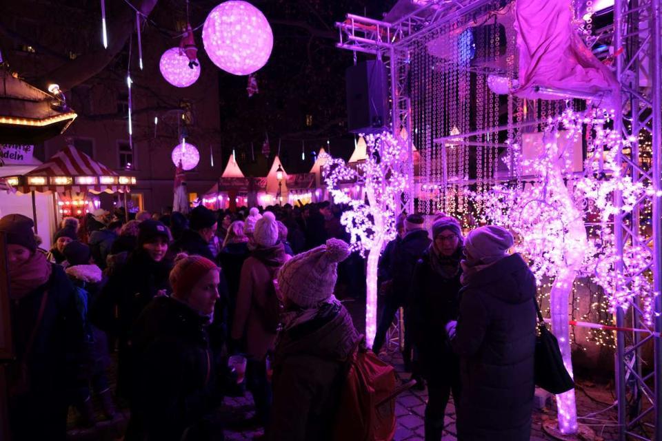 pink christmas market munich germany
