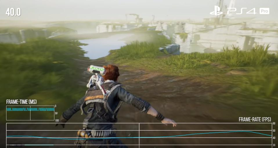 Character sliding down mud trail with frame rate graph along the bottom of the screen