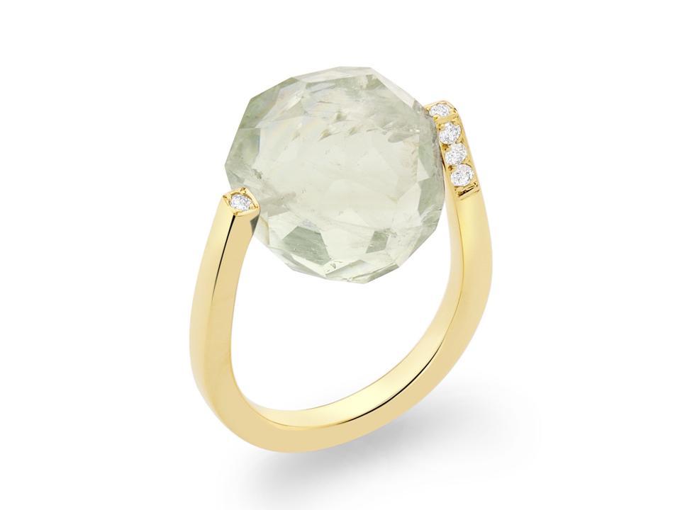 18ct gold Twist Rock ring by Yael Sonia, 15mm prasiolite quartz and 0.16ct diamonds, $2,980.