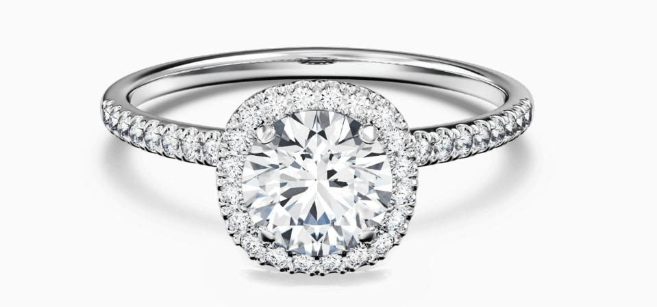 Delicate Cushion Shape Halo ring by Great Heights, with lab-grown diamonds and platinum band, $3,275