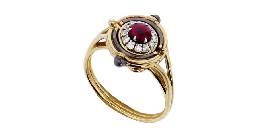 Mira ring by Elie Top, in yellow gold and distressed silver, with a 1.58ct red spinel, 12 0.12ct diamonds, $10, 449