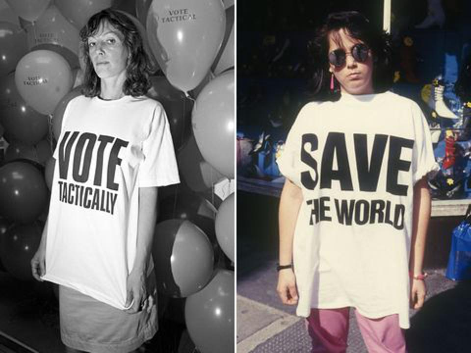 Katharine Hamnett, fashion activist and the original inventor of the slogan protest tee.