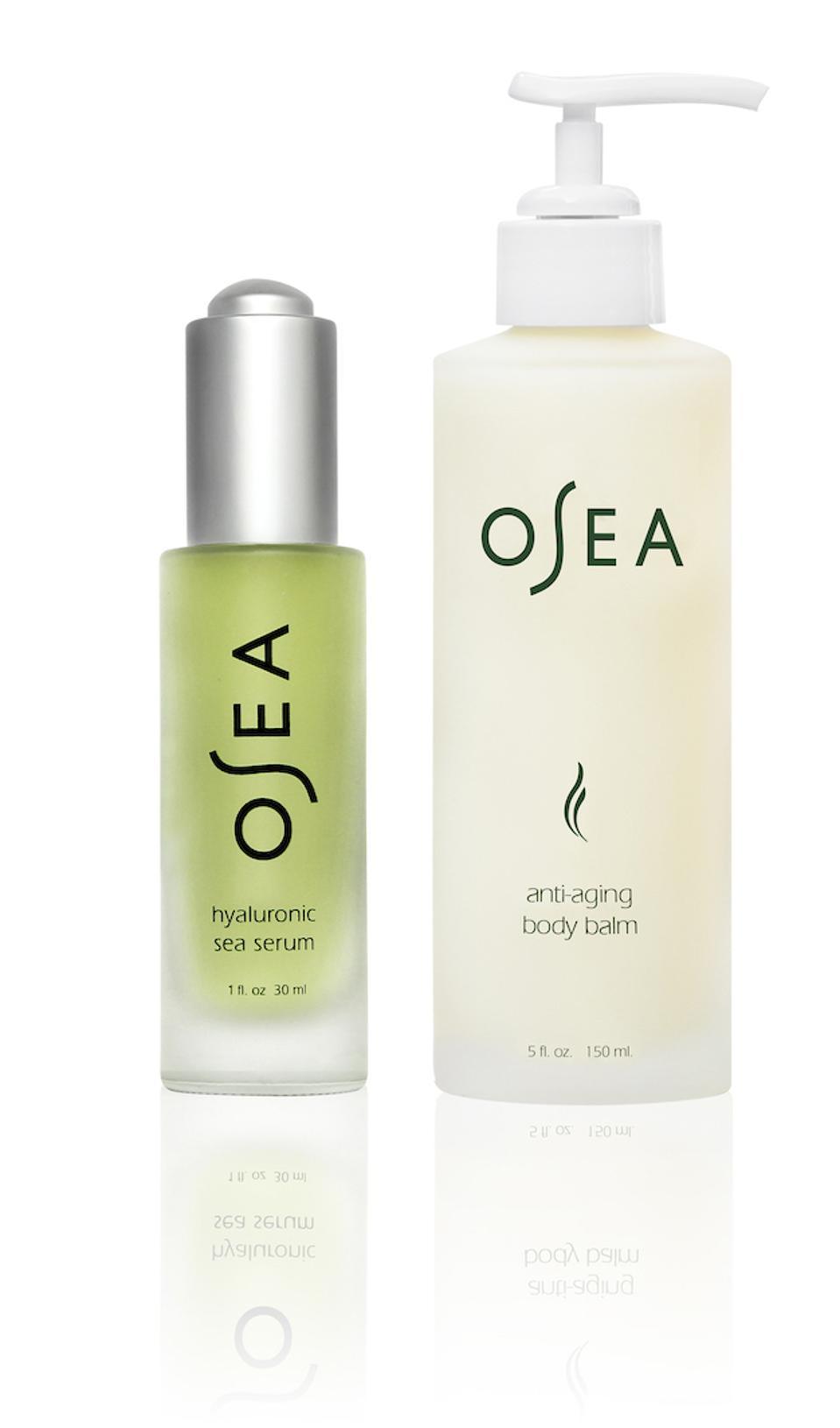 OSEA Hylauronic sea serum and anti-aging body balm.
