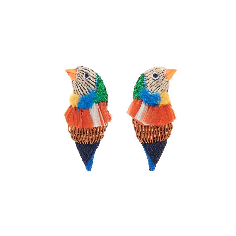 Mignonne Gavigan Finch Bird Earrings in Coral.