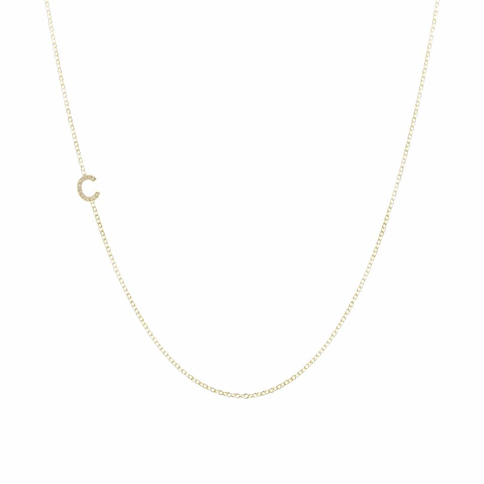 Maya Brenner Initials Gold Chain Necklace.