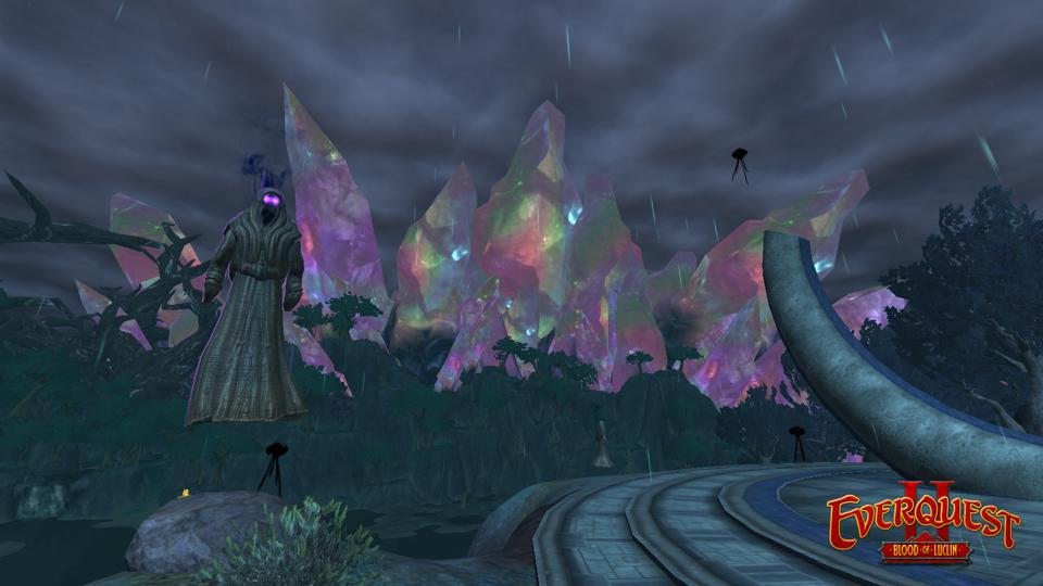 Enormous crystals appear all over Luclin in EverQuest II.