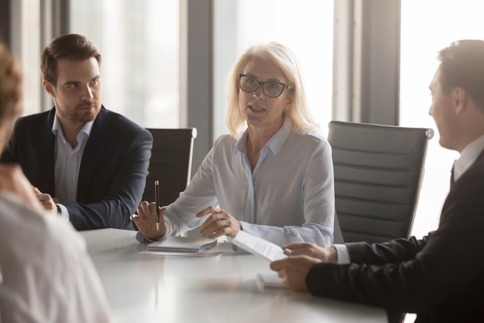 woman in board meeting