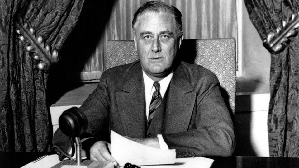 FDR giving his first fireside chat