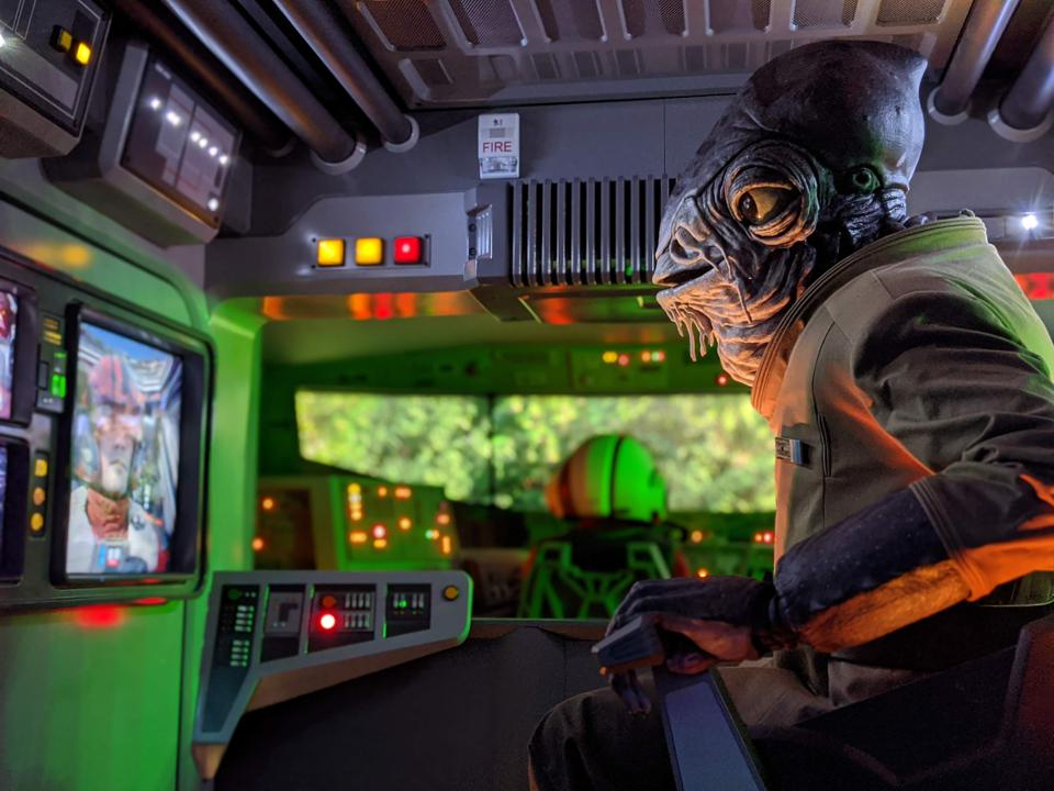 A look at an Audio-Animatronic figure on Disney's Rise of the Resistance attraction.