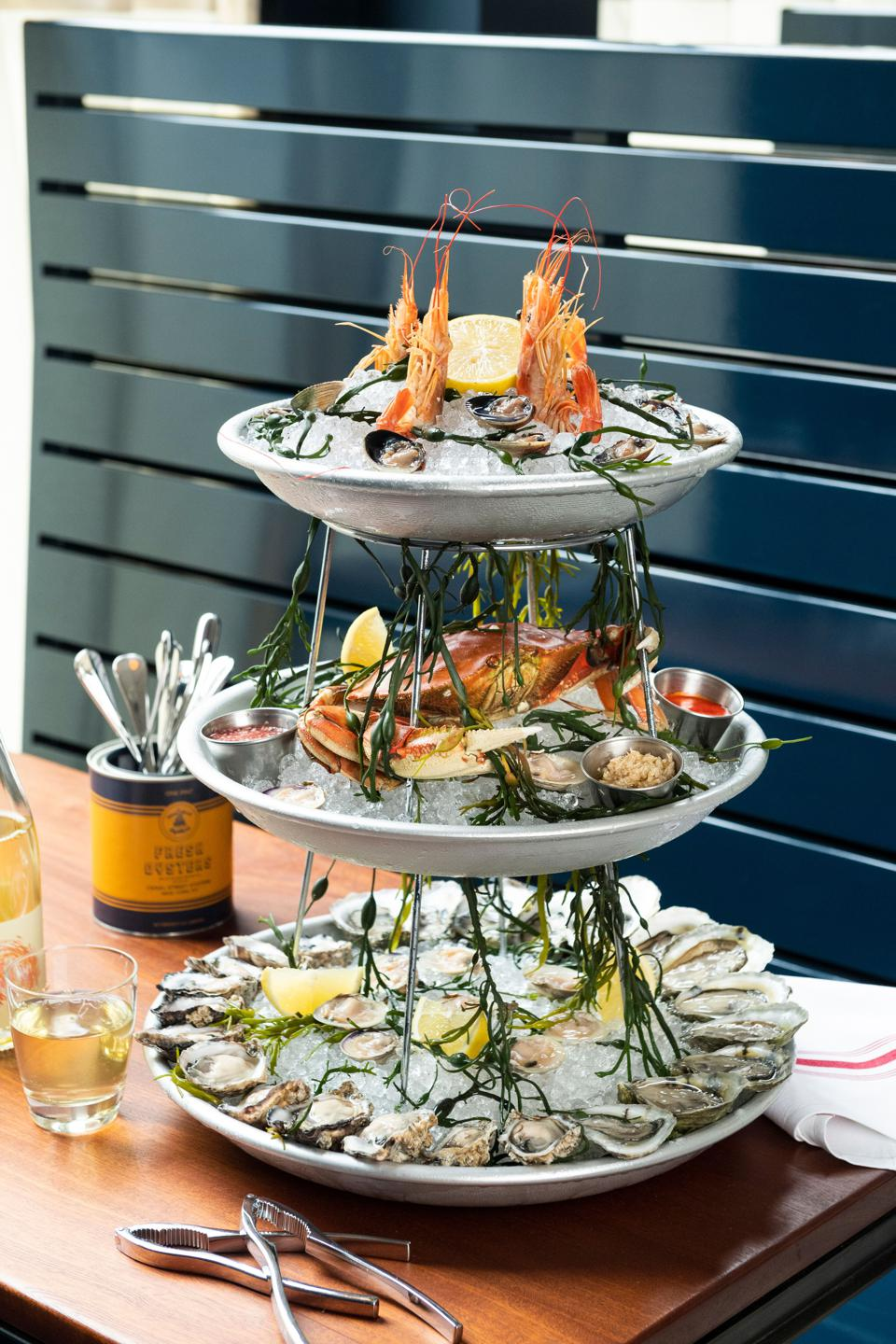 Seafood tower at Canal Street Oysters