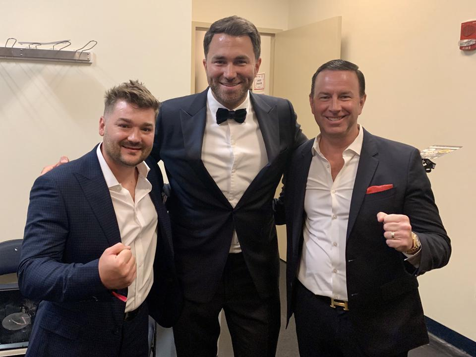 Tim VanNewhouse, promoter Eddie Hearn and manager Keith Connolly.