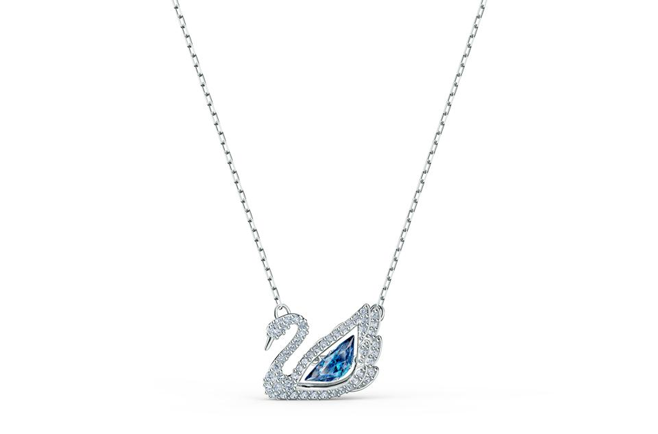 Swarovski swan necklace in blue and white crystal symbolizes the brand's signature motif