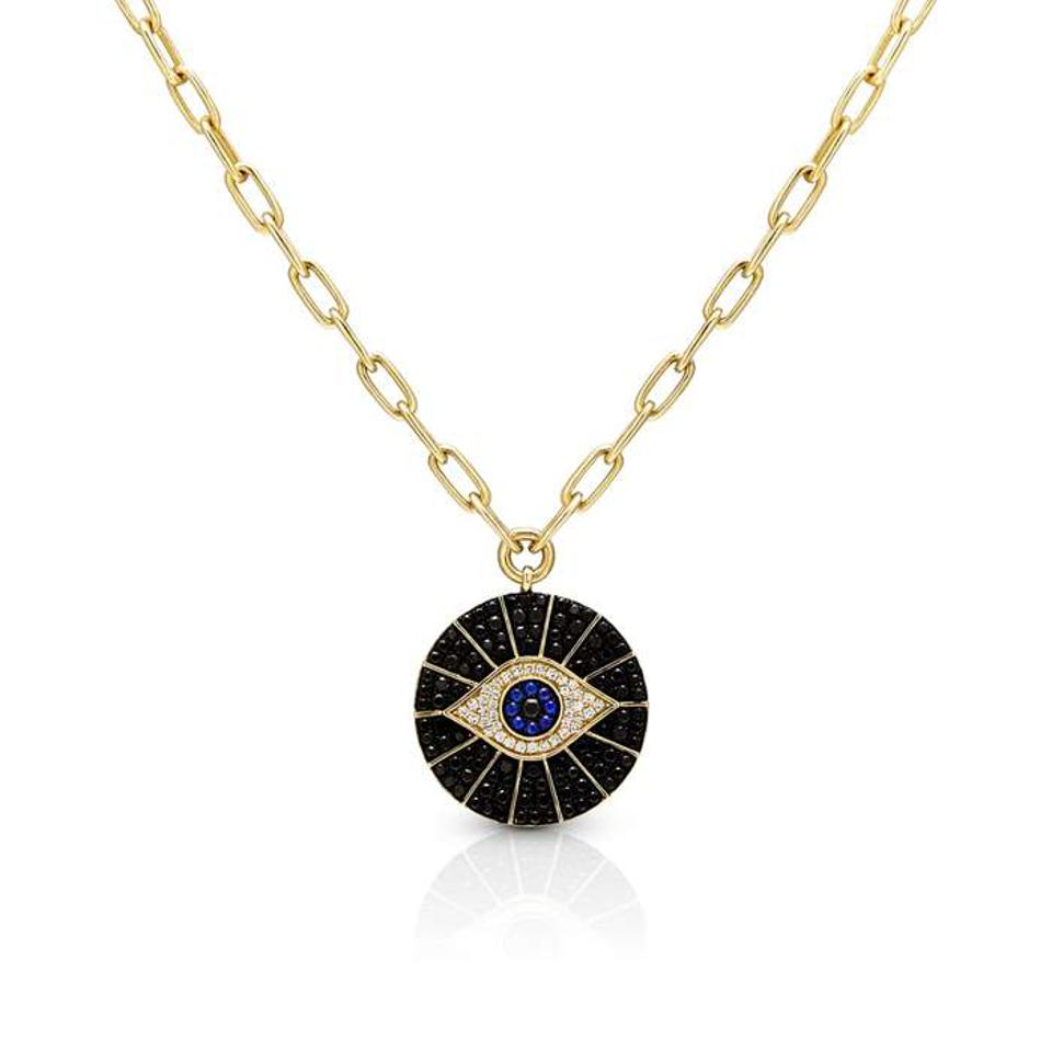 Anne Sisteron Evil Eye Chain Necklace.
