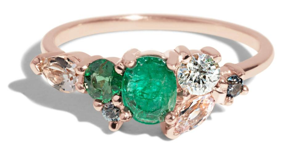 Ethically sourced diamond and emerald engagement ring by Bario Neal