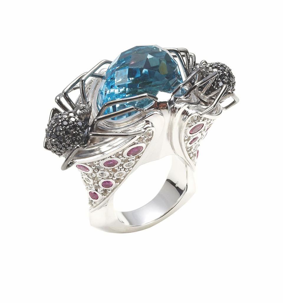 Matthew Campbell Laurenza topaz and black and white diamond ring