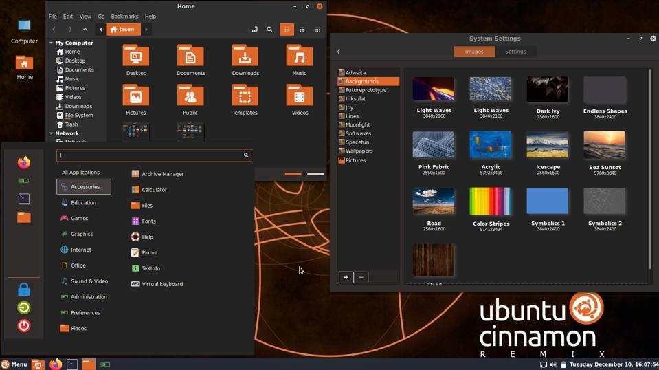 Ubuntu Cinnamon Remix: Menu, File Browser and Desktop Wallpaper settings