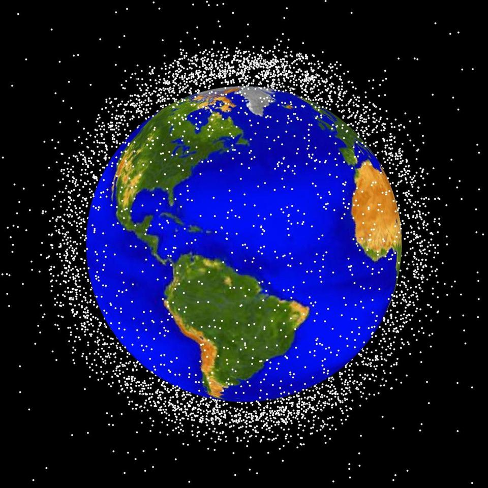 Artist's conception of space junk surrounding Earth.