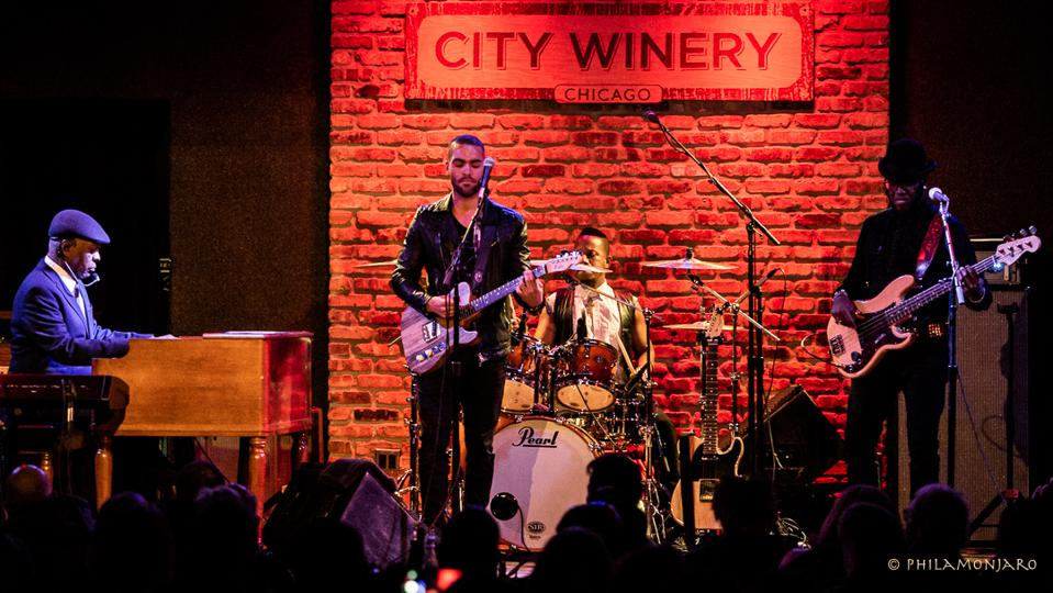 Booker T. Jones (left) performs with his band, featuring son Teddy on guitar (center), on Thursday, November 14, 2019 at City Winery in Chicago (Photo by Philamonjaro Studio)