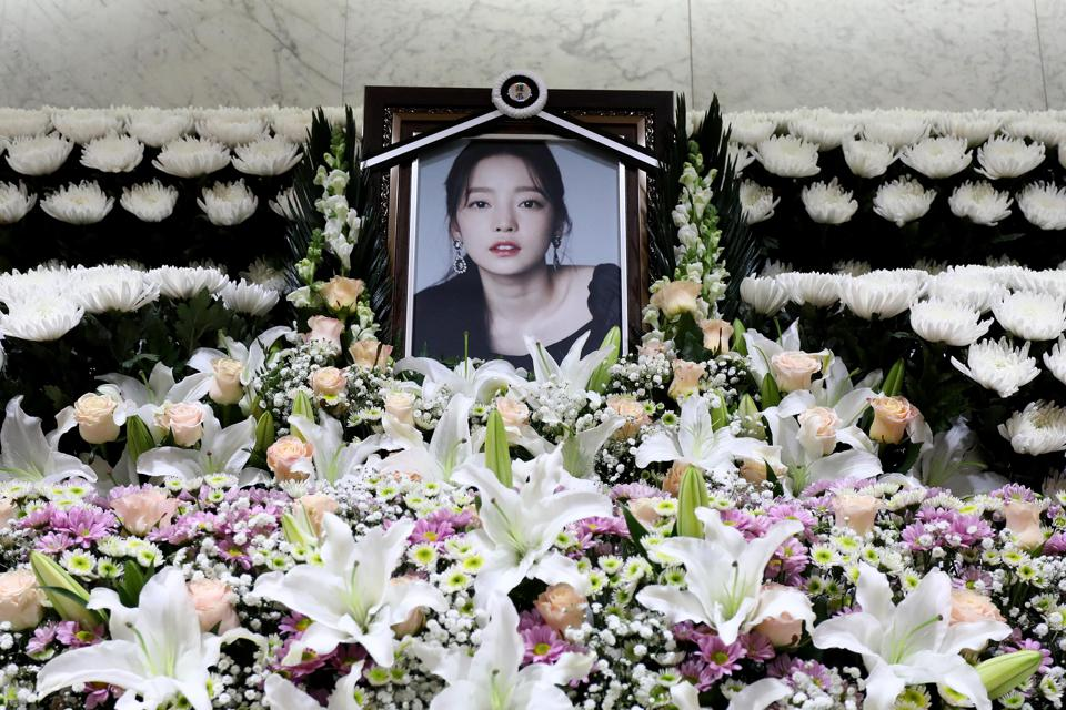 A memorial altar of K-pop star Goo Hara