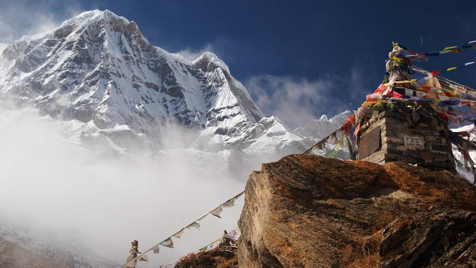 Prayer Flags and the Himalayan mountain, Annapurna