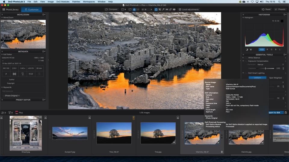 Screenshot of DxO PhotoLab 3