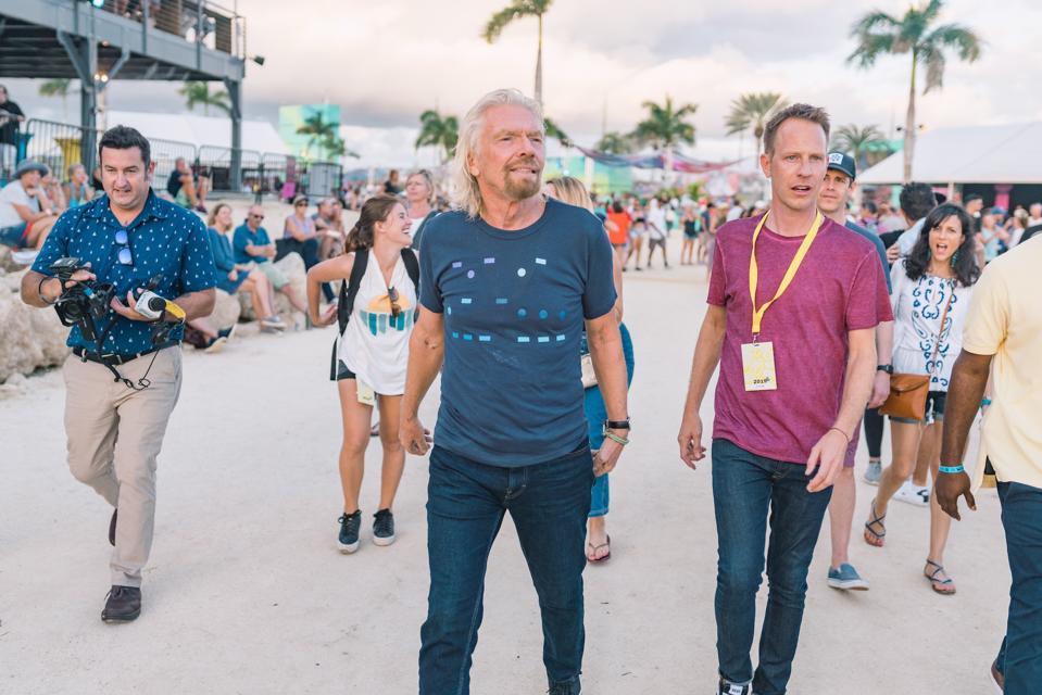 Sir Richard Branson and Virgin Fest CEO, Jason Felts attend a music festival ahead.