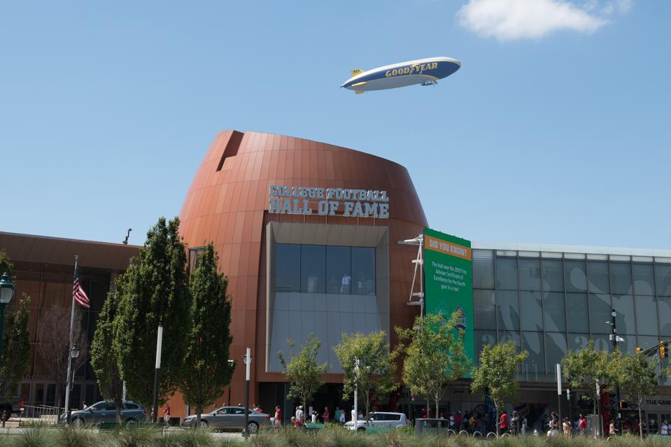 Goodyear Blimp at College Football Hall of Fame