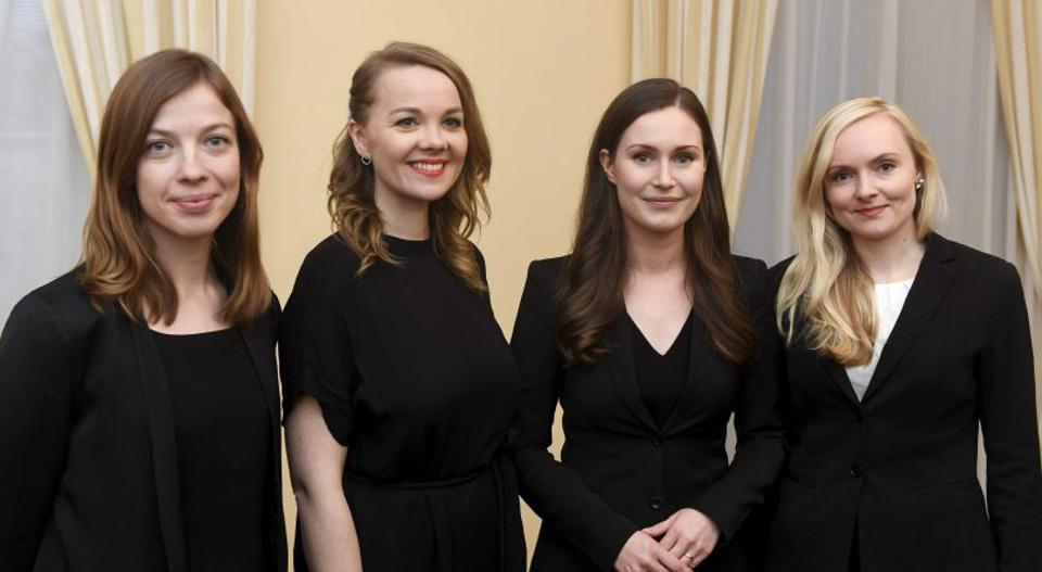All in their thirties: These women have a country to run. (From left to right) Finland's Minister of Education Li Andersson, 32; Minister of Finance Katri Kulmuni, 32; Prime Minister Sanna Marin, 34; and Interior Minister Maria Ohisal, 34