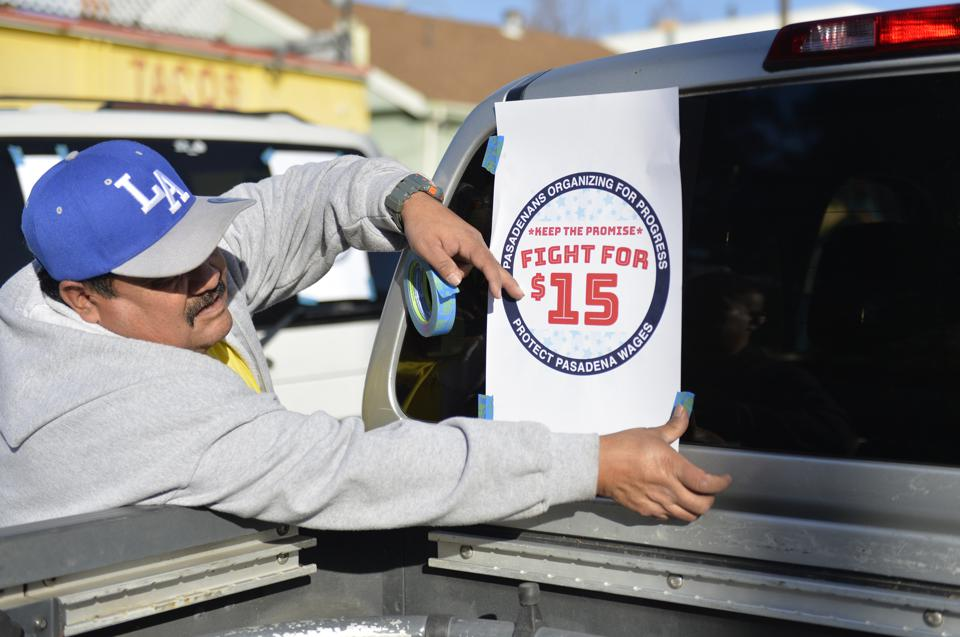 Pasadenans Organizing for Progress hold car rally fighting for $15 minimum wage
