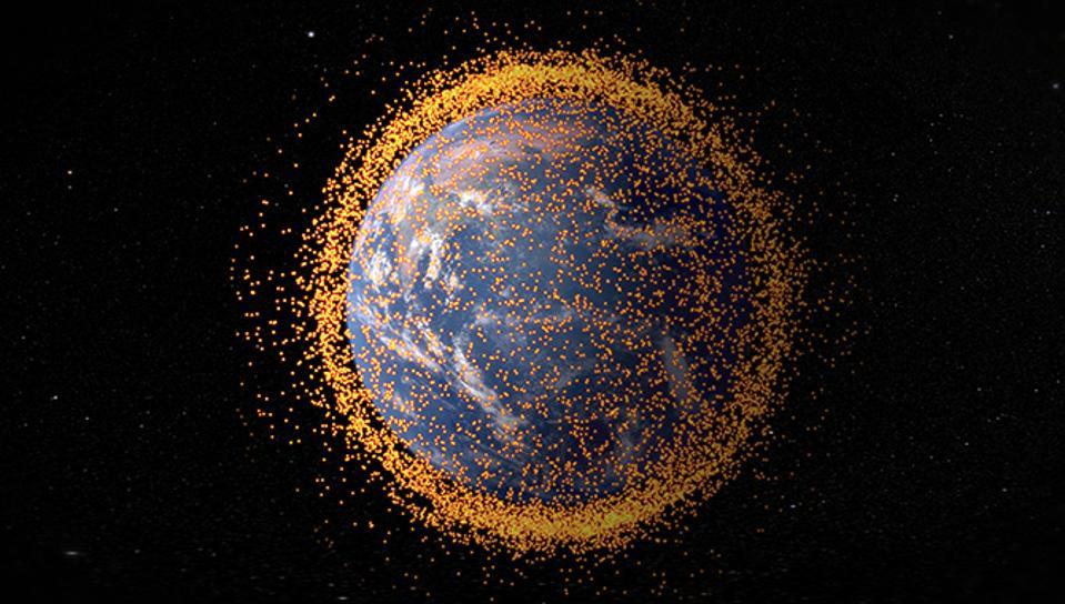 Artist's concept of orbital debris in Earth orbit.