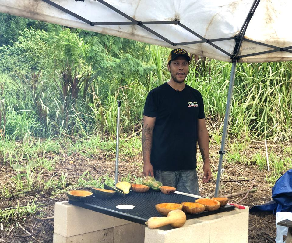 Baby Health in Winter Bryan Mesa grilling squash for his farm-to-table dinner at De La Mesa in Waimanalo, Hawaii