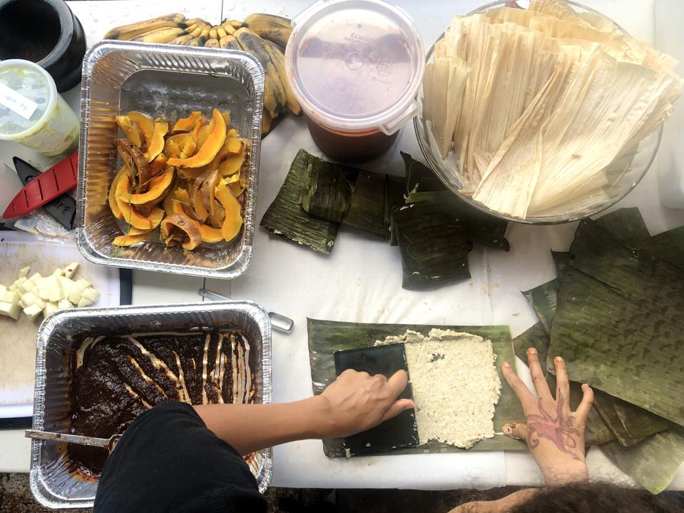 Baby Health in Winter Local vendor - Juega - prepares tamales for De La Mesa farm-to-table dinner