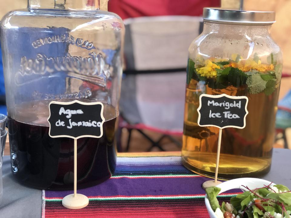 Baby Health in Winter Agua fresca and iced tea made with fresh hibiscus and marigolds from De La Mesa farm in Hawaii