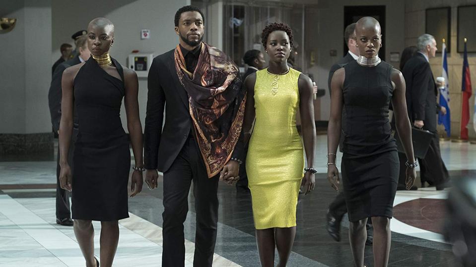 Florence Kasumba, Chadwick Boseman, Danai Gurira, and Lupita Nyong'o in 'Black Panther'