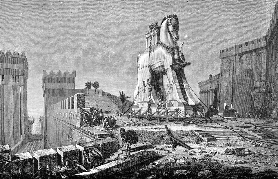 Engraving of trojan horse from 1875