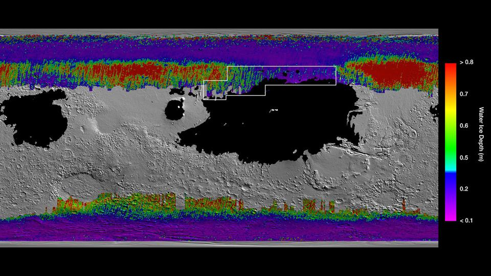 Map of subterranean water ice on mars.