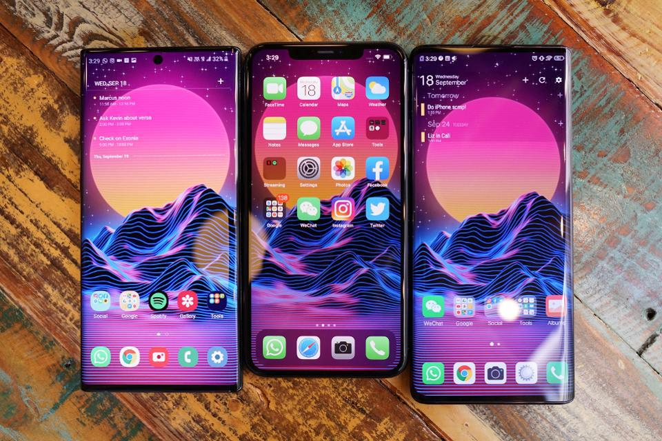 The iPhone 11 Pro with the Vivo Nex 3 and the Samsung Galaxy Note 10.