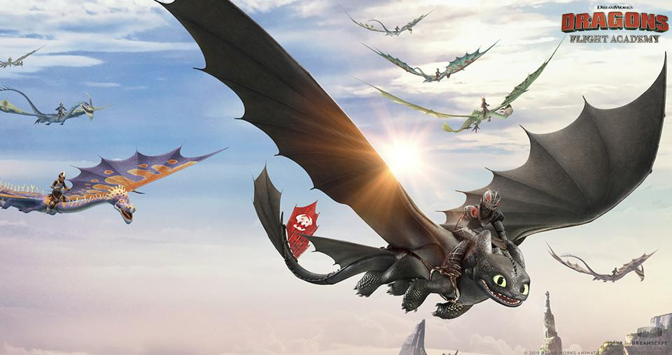 Dragon Flight Academy virtual reality experience still image of people riding dragons